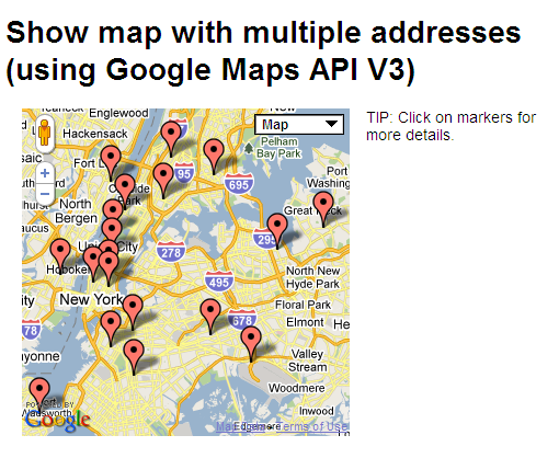 CMS Builder - Plugins - Geocoder | interactivetools.com on maps with addresses, satellite view of an addresses, map that shows street addresses,